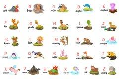 A-z animale della lettera di alfabeto illustrazione di stock
