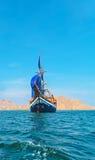 Z Błękitny Żaglami Drewniany rocznika Statek Obraz Royalty Free