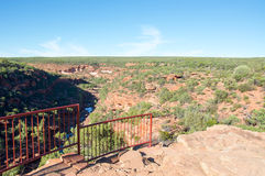 Z-Bend Lookout. Z-bend scenic landscape from the cliff lookout, overlooking the native plants, sandstone rock and river gorge in Kalbarri National Park under a Royalty Free Stock Photography