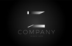 Z black white silver letter logo design icon alphabet 3d Stock Photos