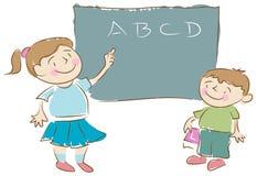 Z Blackboard szkolni Dzieciaki Fotografia Royalty Free