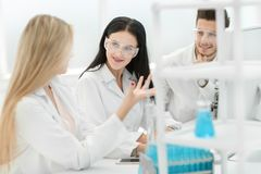 z bliska drużyna naukowowie dyskutuje rezultaty eksperymenty obrazy stock