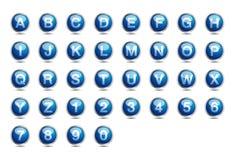 A-Z blu della fonte di alfabeto dell'icona Fotografia Stock