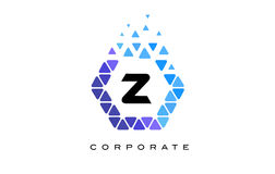 Z Blue Hexagon Letter Logo with Triangles. Z Blue Hexagon Letter Logo Design with Blue Mosaic Triangles Pattern royalty free illustration