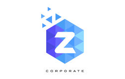 Z Blue Hexagonal Letter Logo Design with Mosaic Pattern. Z Blue Hexagonal Letter Logo Design with Mosaic Blue Pattern Stock Photography