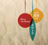 Z boże narodzenie dekoracjami retro Kartka bożonarodzeniowa Obrazy Stock