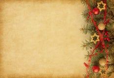 Z Boże Narodzenie granicą papierowy beżu tło fotografia stock