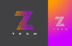 Z-bokstav Logo Technology FörbindelseDots Letter Design Vector Royaltyfria Bilder
