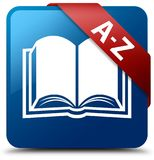 A-Z (book icon) blue square button red ribbon in corner Stock Photography