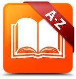 A-Z (book icon) orange square button red ribbon in corner Royalty Free Stock Image