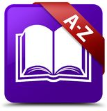 A-Z (book icon) purple square button red ribbon in corner Stock Image