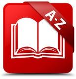 A-Z (book icon) red square button red ribbon in corner Stock Image