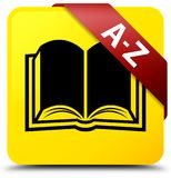 A-Z (book icon) yellow square button red ribbon in corner Royalty Free Stock Images