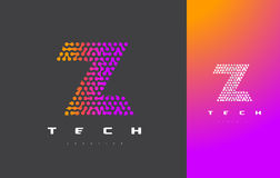 Z Brief Logo Technology Verbonden Dots Letter Design Vector Royalty-vrije Stock Afbeeldingen