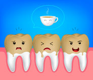 Zębu charakter z kawowymi plamami Obraz Royalty Free