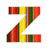 Z-Buchstabe in den bunten Linien auf weißem Hintergrund Stockbilder