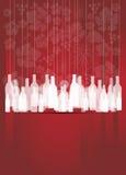 Z butelkami wina tło czerwony abstrakcjonistyczny Zdjęcia Royalty Free