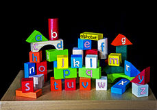 A - z for children, teaching - alphabet. A - z for children on building bricks - each letter of the alphabet spelt once royalty free stock images