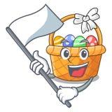 Z chorągwianym Easter koszem nad drewniany kreskówka stół ilustracja wektor