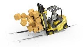 Z ciężkim ładunkiem forklift ciężarówka Zdjęcie Stock