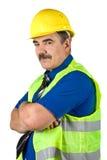 Z ciężkim kapeluszem architekta dojrzały mężczyzna Zdjęcia Royalty Free
