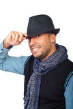 Z czarnym kapeluszem nowożytny facet Fotografia Royalty Free