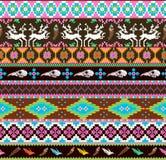 Z czaszką bezszwowy azteka wzór Zdjęcia Royalty Free
