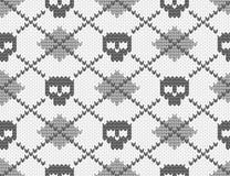 Z czaszkami trykotowy wzór Zdjęcie Royalty Free