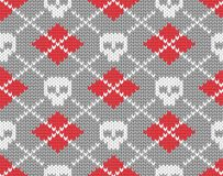 Z czaszkami trykotowy wzór Obraz Stock