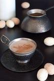 Z czekoladą filiżanka kawy Fotografia Stock