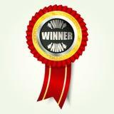 Z czerwonym faborkiem złota zwycięzca ikona Obraz Royalty Free