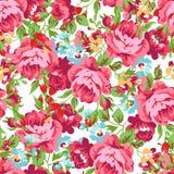 Z czerwonymi różami bezszwowy kwiecisty wzór Zdjęcie Royalty Free