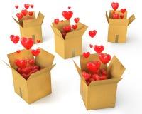 Z czerwonymi sercami kartonów mnóstwo pudełka Obraz Stock