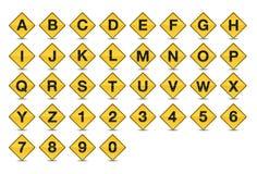 A-Z della fonte di alfabeto del segnale stradale dell'icona Immagine Stock