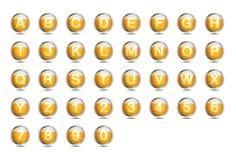 A-Z della fonte di alfabeto della birra dell'icona Fotografia Stock Libera da Diritti
