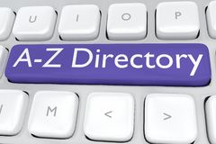 A-Z Directory concept. Render illustration of computer keyboard with the print A-Z Directory on a dark blue button Stock Photos