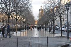Z drzewami zima krajobraz obrazy royalty free