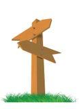 Z dwa strzelającymi kierunku drewniany znak Ilustracja Wektor