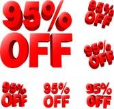 95% z Dyskontowego sprzedaż znaka Fotografia Stock