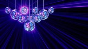 Z dyskotek lustrzanymi piłkami kolorowy ostry tło Zdjęcie Royalty Free