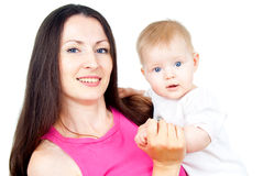 Z dzieckiem szczęśliwa matka Zdjęcie Stock