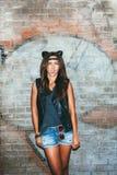 Zła dziewczyna z rzemiennymi kotów ucho Zdjęcia Royalty Free