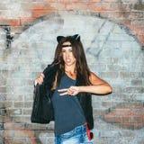 Zła dziewczyna z rzemiennymi kotów ucho Obrazy Royalty Free