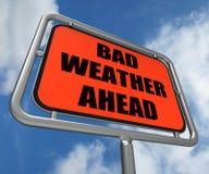 Złej pogody znak Naprzód Pokazuje Niebezpiecznego Obraz Stock