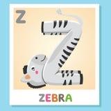 Z est pour le zèbre Marquez avec des lettres Z Zèbre, illustration mignonne blanc animal de vecteur de fonds d'image d'alphabet Image libre de droits