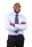 Z fałdowymi rękami biznesowy Amerykanin afrykańskiego pochodzenia mężczyzna Obraz Royalty Free