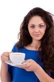 Z filiżanka kawy piękna młoda kobieta Obrazy Stock