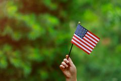 z flaga amerykańską w jej ręka dniu niepodległości, Chorągwianego dnia pojęcie obrazy stock