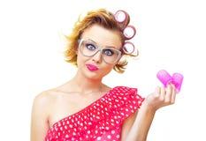 Z fryzurą śmieszna kobieta zdjęcia stock