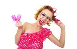 Z fryzurą śmieszna kobieta fotografia stock
